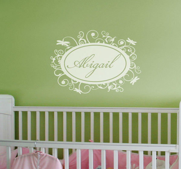 Abigail - Dragonfly Name Frame Wall Decal