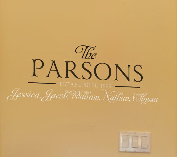 The Parsons Established 1999 - Family Names Serendipity Wall Decal
