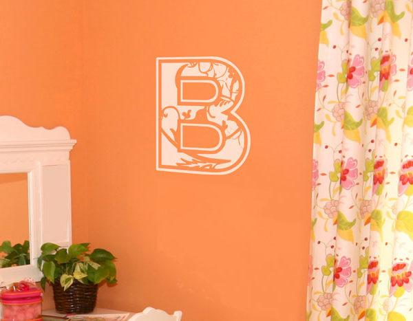 Floral Applique Monogram - prev Wall Decal