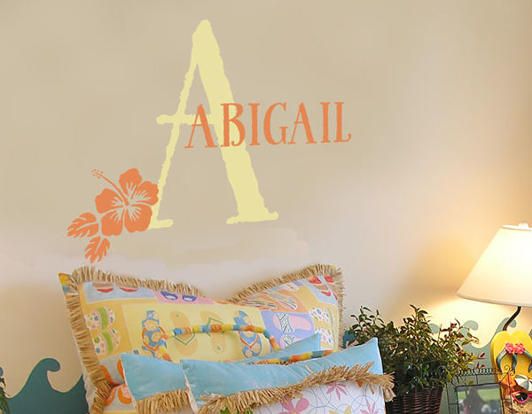 Abigail - Hibiscus Girls Name Wall Decal
