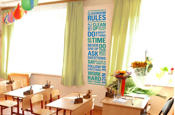 Modern Classroom Rules ~ Classroom rules modern wall decal