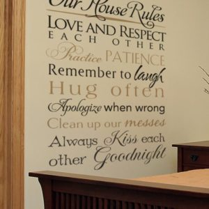 Our House Rules - Love and respect each other. Practice. Patience.  Wall Decal