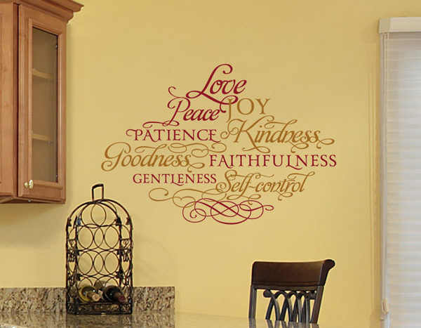 Love, peace, joy, patience, kindness, goodness, faithfulness, gentleness, self-control Wall Decal