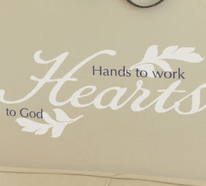 Hands to work hearts to God Wall Decal