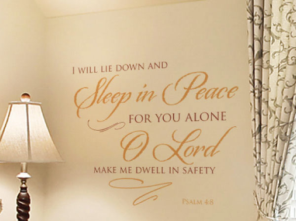I will lie down and sleep in peace Wall Decal