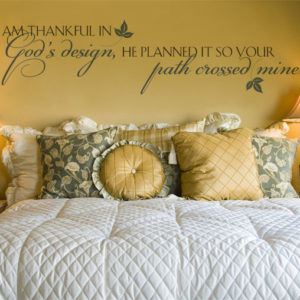 I am thankful in God's design Wall Decal