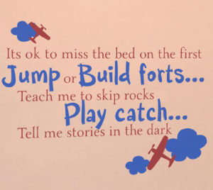 It's ok to miss the bed on the first jump Wall Decal