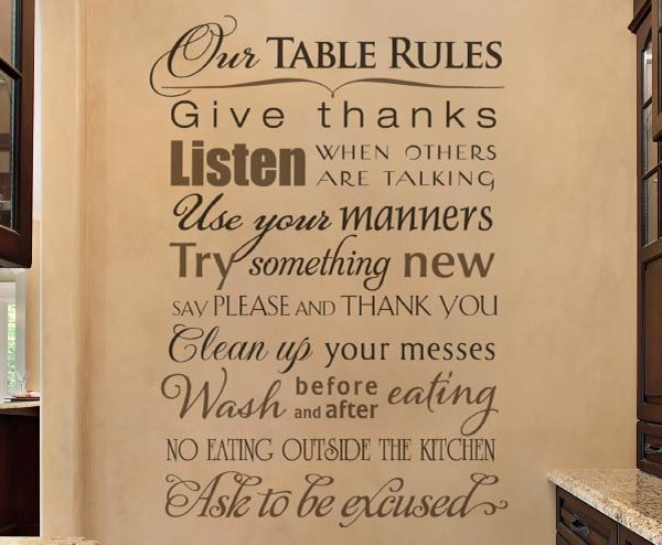 Our Table Rules - Give Thanks. Listen When Others Are Talking Wall Decal
