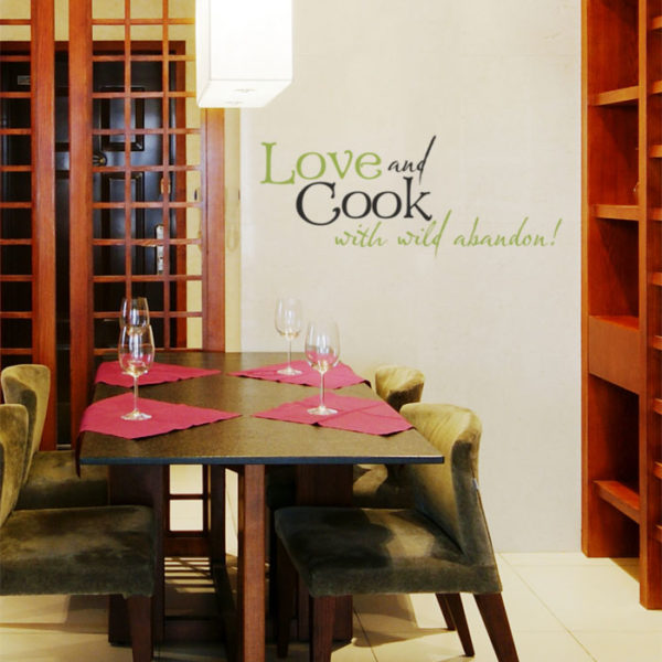 Love and Cook with Wild Abandon! Wall Decal