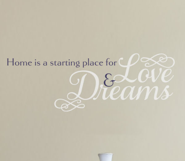 Home is a starting place for love and dreams. Wall Decal