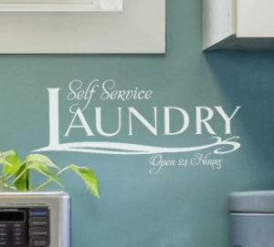 Self Service Laundry Open 24 Hours Wall Decal