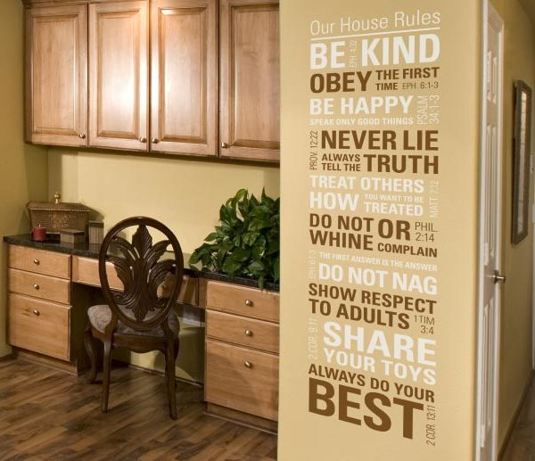 Our House Rules. Be Kind. Obey the First Time. Wall Decal