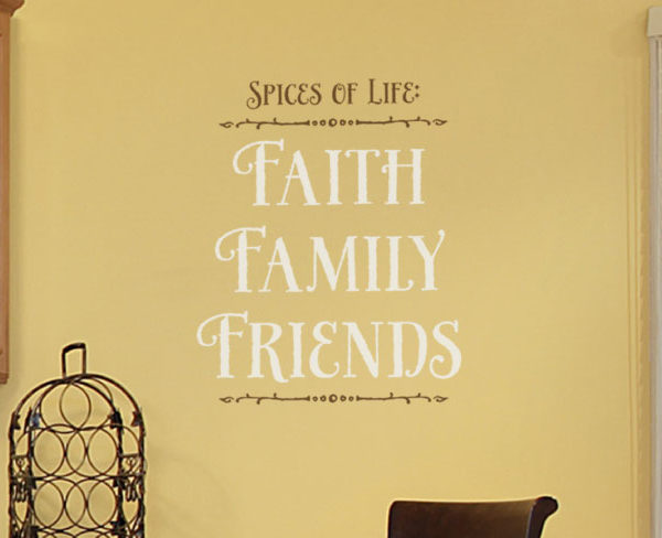 Spices of Life: Faith, Family, Friends Wall Decal