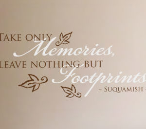 Take Only Memories, Leave Nothing but Footprints. Wall Decal