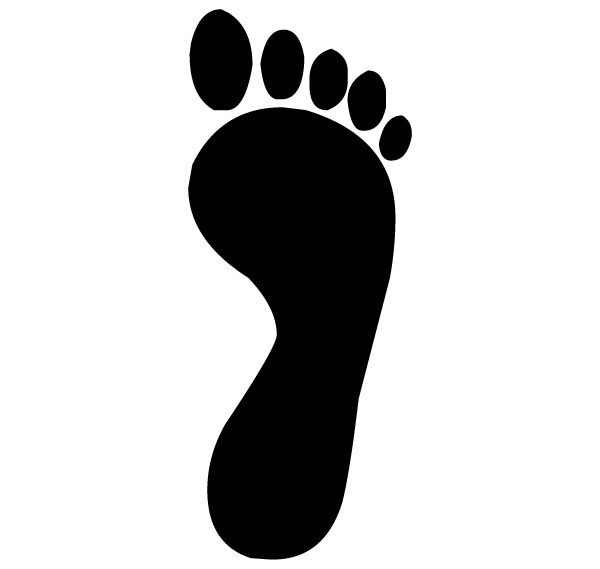 Adult Right Footprint Pair 1B - Lettering Art 14-1-2 Wall Decal
