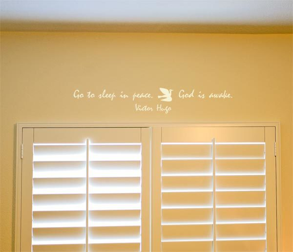 Go to sleep in peace. God is awake. - Victor Hugo Wall Decal