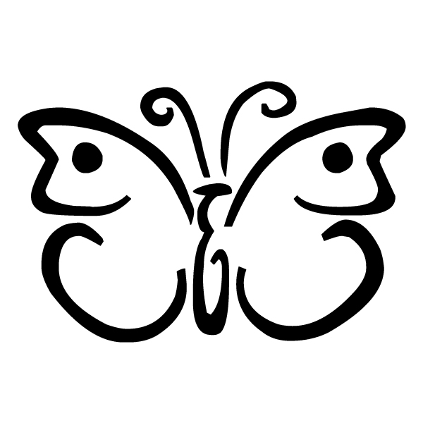 Butterfly Outline 2B LAK 3 5 Butterfly Wall Decal