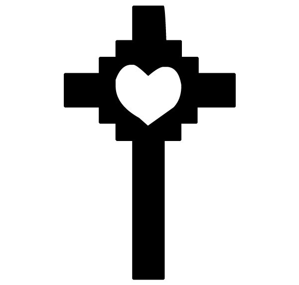 Cross with Heart Lettering Art 16-0 Wall Decal
