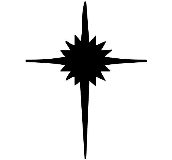 Cross with star Lettering Art 16-n Wall Decal