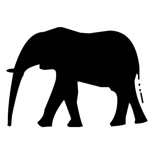 Elephant Silhouette 1B LAK 15-3 Jungle Wall Decal