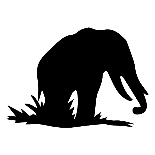 Elephant Silhouette 2A LAK 15-C Jungle Wall Decal