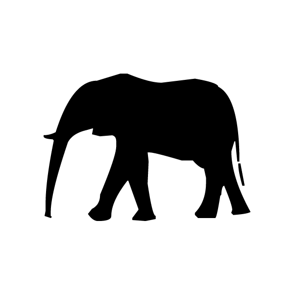 Elephant Silhouette B LAK 14 1 Animal Wall Decal