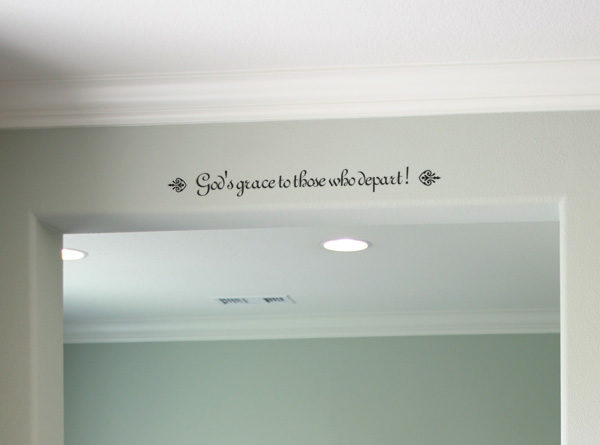 God's grace to those who depart Wall Decal