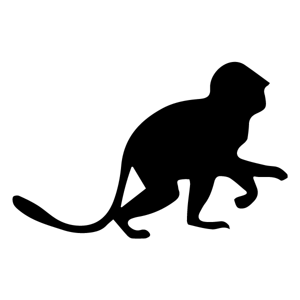 Monkey Silhouette 1A LAK 15-G Jungle Wall Decal