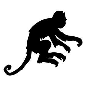 Monkey Silhouette 2A LAK 15-I Jungle Wall Decal