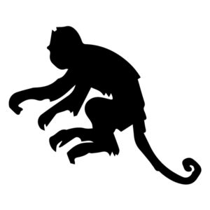 Monkey Silhouette 2B LAK 15-J Jungle Wall Decal