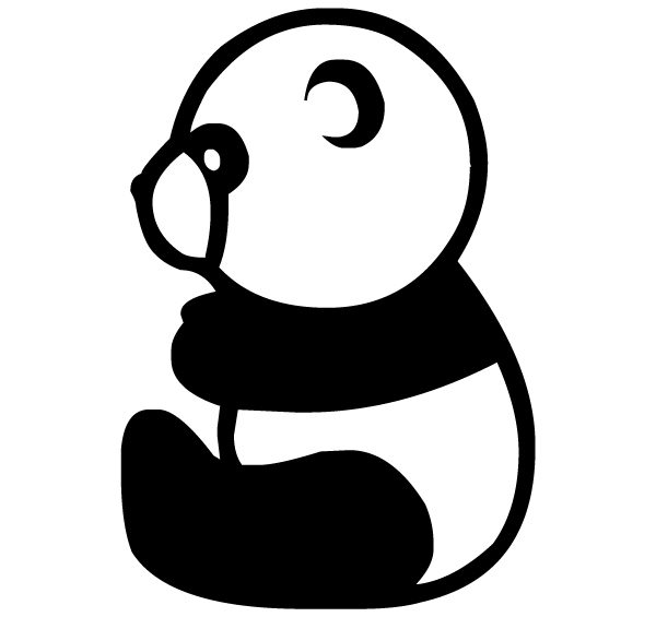 Panda Silhouette 2B LAK 14 v Animal Wall Decal