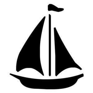 Sailboat Silhouette 1B LAK 1-B Nautical Wall Decal