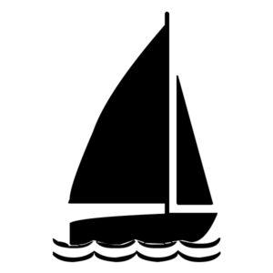 Sailboat Silhouette 3A LAK 1-O Nautical Wall Decal