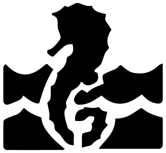 Seahorse in water Lettering Art 5 D Wall Decal