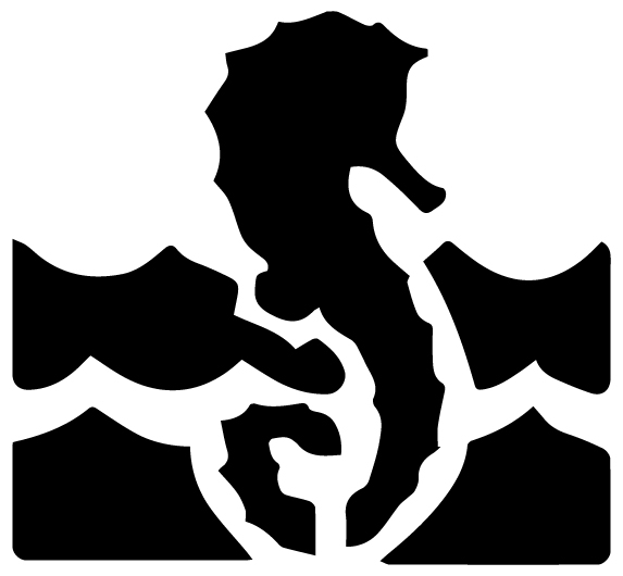 Seahorse in water Lettering Art 5 k Wall Decal