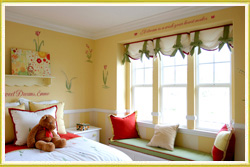 kid's room wall decal above three paneled window in girl's bedroom