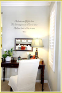 bedroom wall quote decal above study table in bedroom