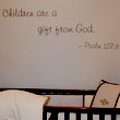 Children are a Gift from God - a bible verse wall decal on a lavender wall above the crib in a Baby's Room.