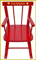 girls name wall decal on red rocking chair