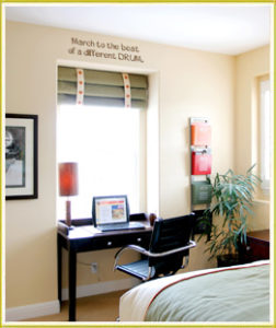 music drum wall decal above desk in teen boy's room