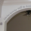 A wall decal on an archway - Divine Service will be rendered