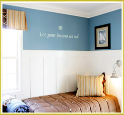 kid's wall decal beside bed in kid's room