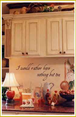 style wall lettering above kitchen counter in Victorian kitchen