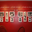 Wall words in the red colored motif family hall with ten pieces family pictures