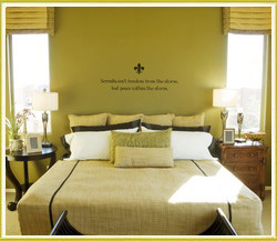 bedroom wall art decal inbetween bedside lamps in bedroom