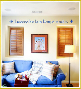 inspirational french wall decal above windows in family room