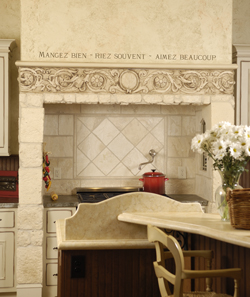 language wall lettering decal above decorative lintel in French kitchen
