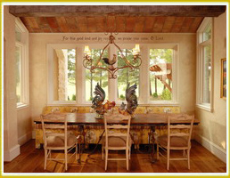 focal point wall decal above dining windows in French country breakfast nook