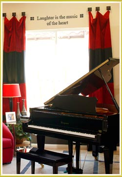 music room wall art on wall above piano in music room