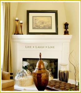 Decorative lettering for fireplace chats and memories